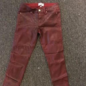 Paige waxed pants in maroon size 28